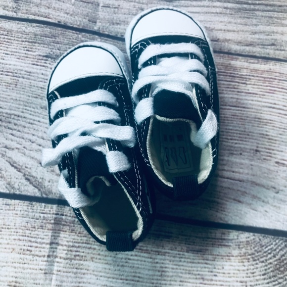 Converse Other - Converse Baby sz3 Black Crib Shoes